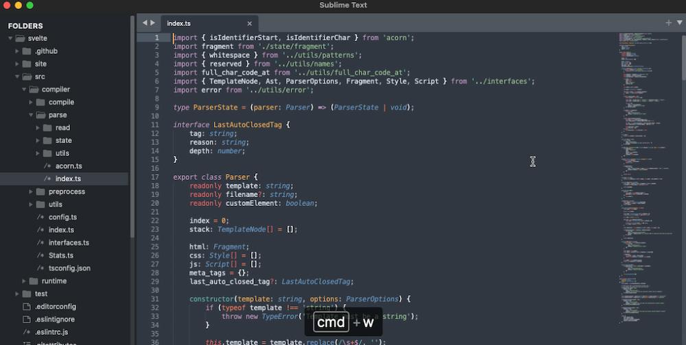 Sublime Text web design software