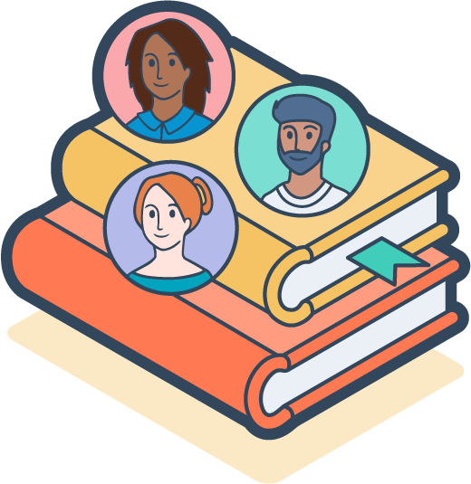 Digital icon of team members and books