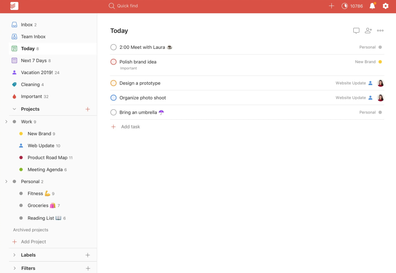 Project management software by Todoist