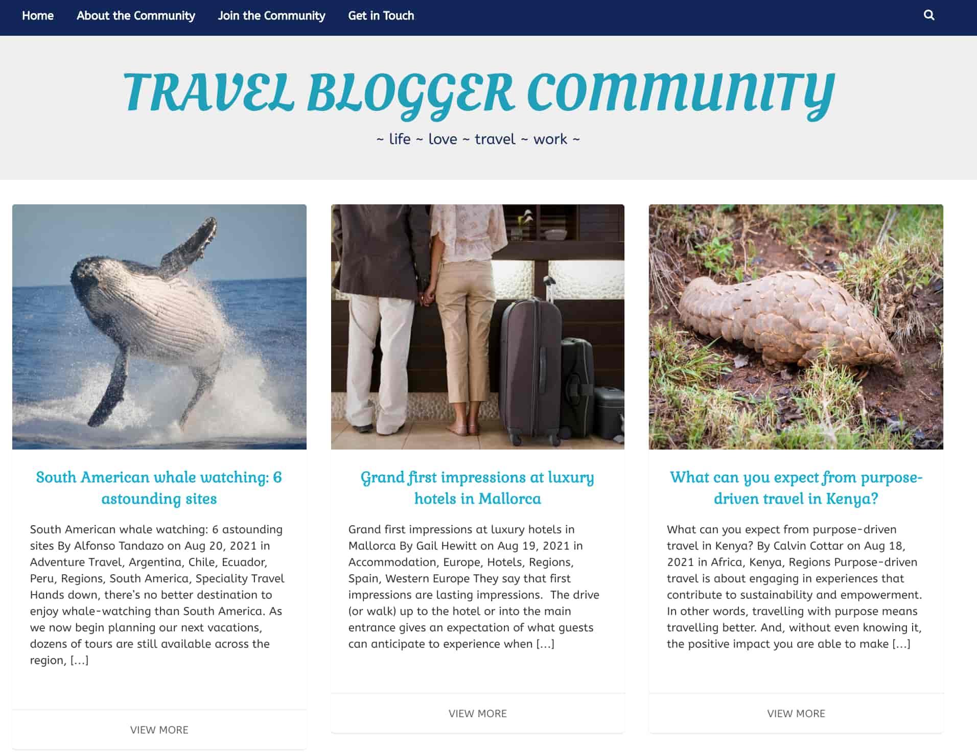 travel blogger community travel blog aggregation site